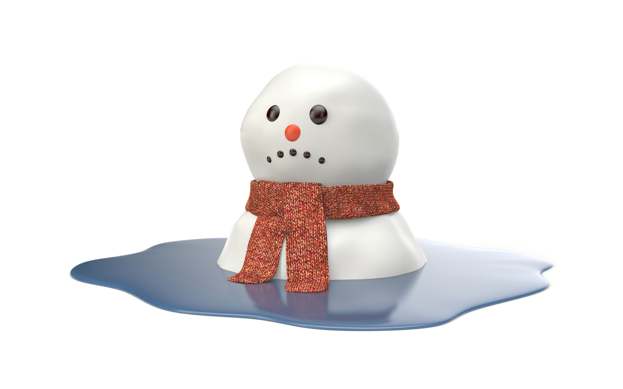 54905605 - snowman melting on white background