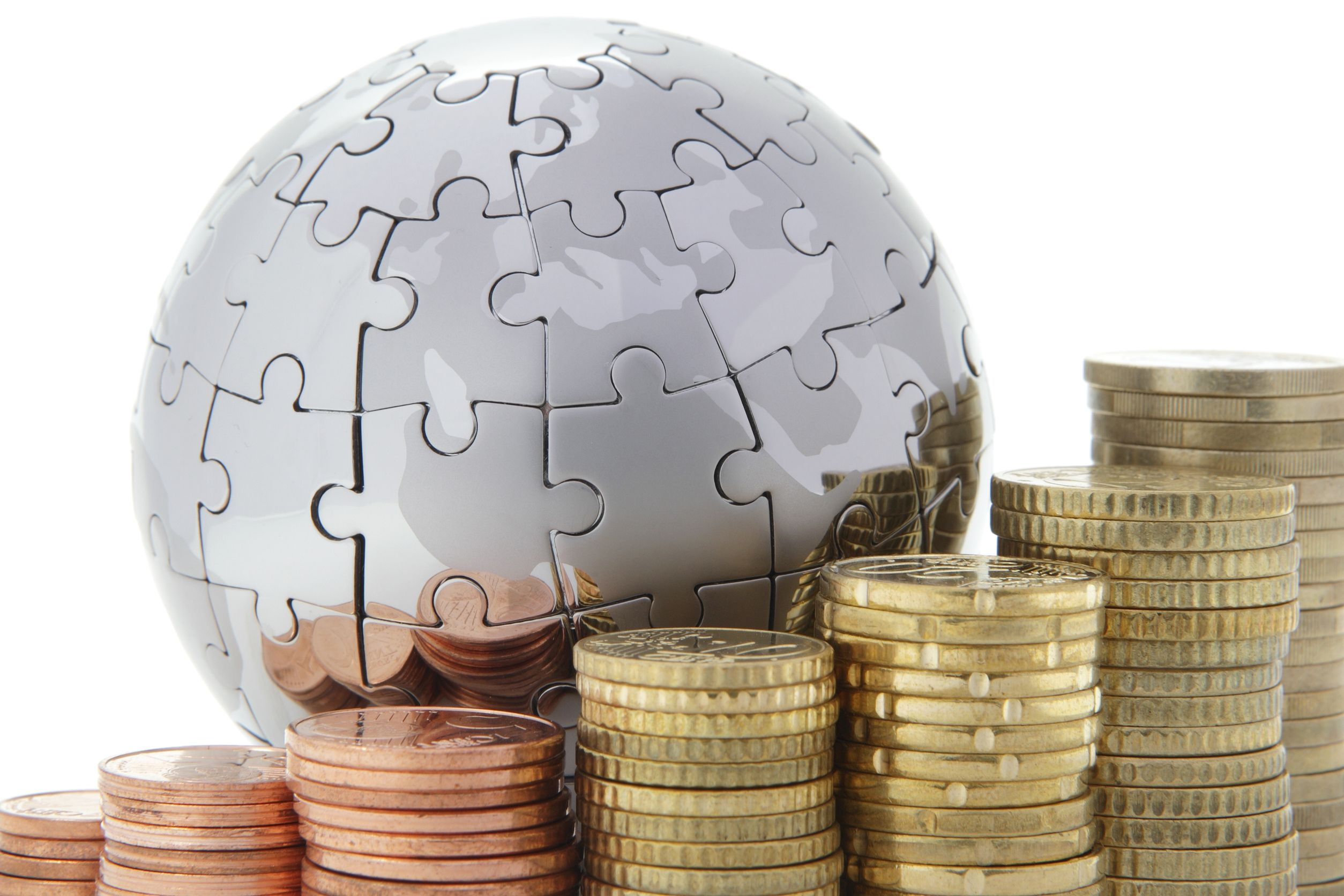 8824385 - metal puzzle globe with euro coins on white background